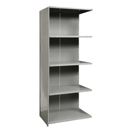 Extra Heavy-Duty Closed Shelving Adder Unit w/ 5 Shelves