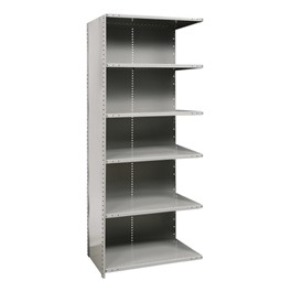 Medium-Duty Closed Shelving Adder Unit w/ 6 Shelves