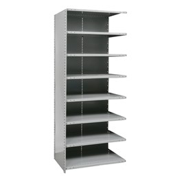 Heavy-Duty Closed Shelving Adder Unit w/ 8 Shelves
