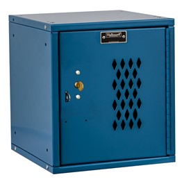 Cubix Modular Locker w/ Ventilated Door - Built-In Key Lock - shown in marine blue