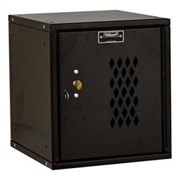 Cubix Modular Locker w/ Ventilated Door - Built-In Key Lock - shown in ebony