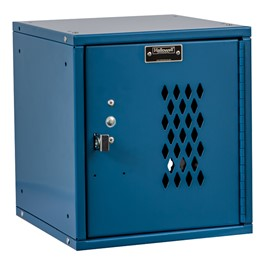 Cubix Modular Locker w/ Ventilated Door - Finger Pull Handle - shown in marine blue