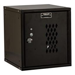 Cubix Modular Locker w/ Ventilated Door - Finger Pull Handle - shown in ebony