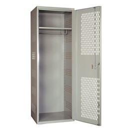 SecurityMax All-Welded One-Wide Single-Tier Locker - shown in gray w/ ventilated door
