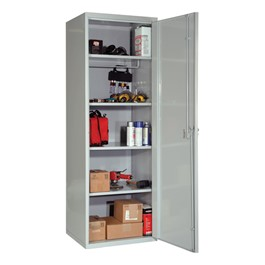 SecurityMax All-Welded One-Wide Single-Tier Locker w/ Solid Door shown in gray w/ additional shelves