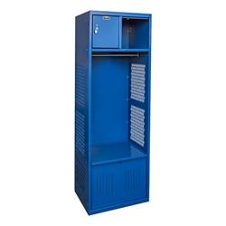 One-Wide Open-Front Rookie Sport Locker w/ Foot Locker & Security Box - Shown in blue
