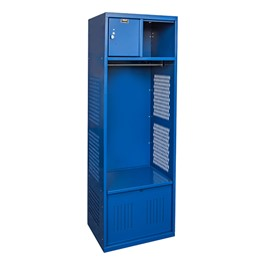 One-Wide Open-Front Rookie Sport Locker w/ Foot Locker & Security Box - Shown in blue