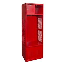 One-Wide Open-Front Rookie Sport Locker w/ Foot Locker & Security Box - Shown in red