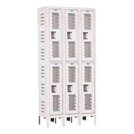Heavy-Duty Ventilated Three-Wide Double-Tier Lockers