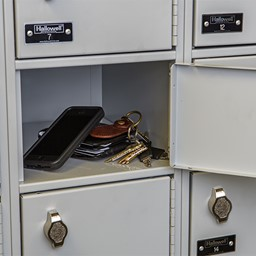 Padlock lockers shown for size