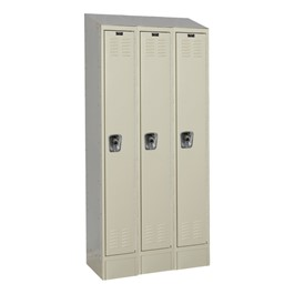 Fully Assembled Three-Wide Single-Tier School Lockers w/ Slope Top & Locks
