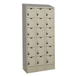 "Ready-Built II Fully Assembled Three-Wide Six-Tier Lockers w/ Slope Top (12"" H Openings)"