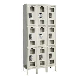 "Clear-View Three-Wide Triple-Tier Lockers (24"" H Openings)"