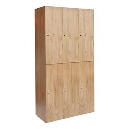 "72"" H Three-Wide Double-Tier Wood Club Lockers"