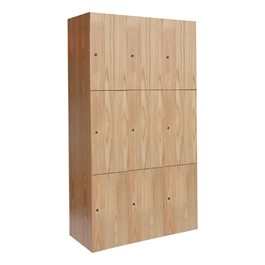 "72"" H Three-Wide Triple-Tier Wood Club Lockers"