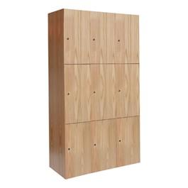 "72\"" H Three-Wide Triple-Tier Wood Club Lockers"