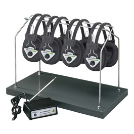 Multi-Channel Wireless Headphone System - 4 Headphones<br>Shown with optional headphone storage rack.