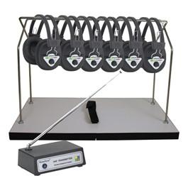 Multi-Channel Wireless Headphone Package - Six Headphones<br>Shown w/ optional storage rack