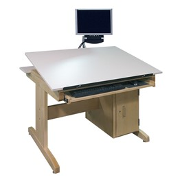CAD Drawing Table w/ Locking CPU Cabinet & Keyboard Tray - Adjustable Top