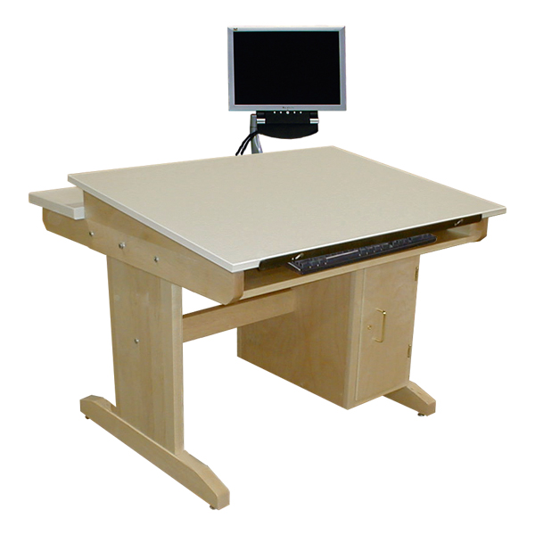 Cad Drawing Table W Locking Cpu Cabinet Keyboard Tray