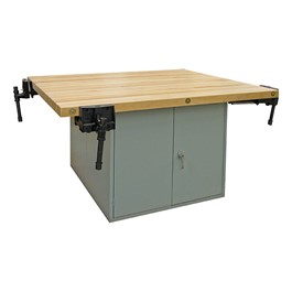 Art Workstation w/ Steel Cabinet Base & Four Vises