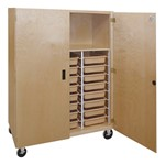 Mobile Storage Cabinet w/ Shelf & 24 Tote Trays