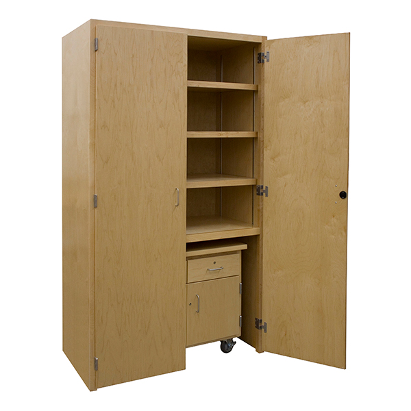 Makerspace Project Storage Cabinet W/ Mobile Project Support Cart   Lockable  Cabinet Base