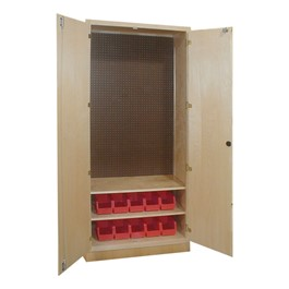 Tool Storage Cabinet w/ Two Shelves & 10 Bins