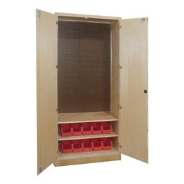 Tool Storage Cabinet w/ Two Shelves & 10 Bins