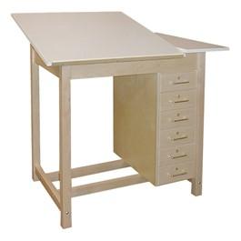 Split-Top Drawing Table w/ Drawer Base