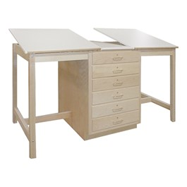 Dual Station Drawing Table w/ Drawer Base