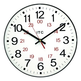"12"" 12/24 Hour Plastic Wall Clock"