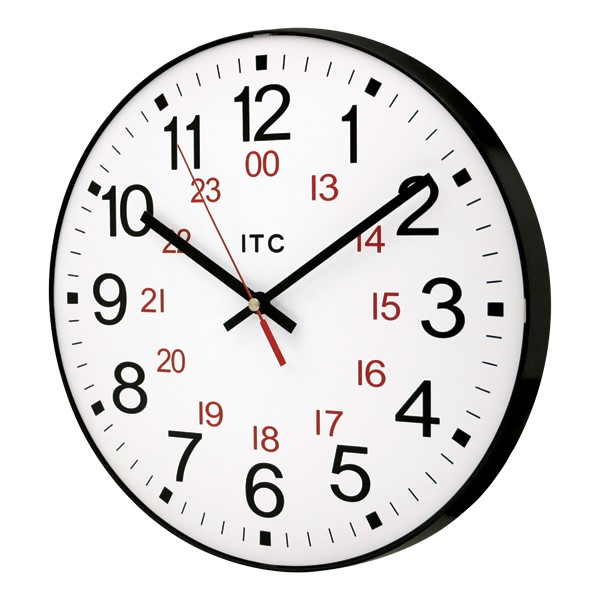 "12"" 12/24 Hour Plastic Wall Clock (angle view)"