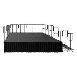 Rectangle Complete Portable Stage System Package w/ Accessories - 16\' L x 12\' D x 2\' H