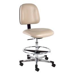 830 Series Mobile Lab Chair w/ Back & Seat Adjustments - Aluminum Base w/ Black Toe Caps