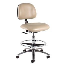 830 Series Mobile Lab Chair w/ Back & Seat Adjustments - Shown w/ polished chrome base