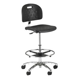 840SQ Series Self-Skin Lab Chair - Shown w/ polished chrome base w/ casters