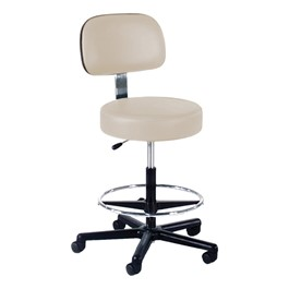 860 Series Lab Stool w/ Backrest & Single-Lever Adjustment - Black Composite Base