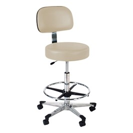 860 Series Lab Stool w/ Backrest & Single-Lever Adjustment - Aluminum Base w/ Toecaps