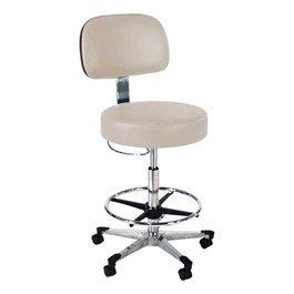 870 Series Lab Stool w/ Backrest & D-Ring Hand Adjustment - Aluminum Base w/ Toecaps