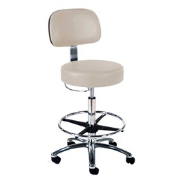 870 Series Lab Stool w/ Backrest & D-Ring Hand Adjustment - Shown w/ polished chrome base