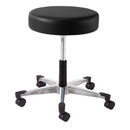 930 Series Exam Stool w/ Swivel Adjustment - Aluminum Base w/ Toecaps - Black vinyl