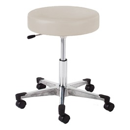 960 Series Exam Stool w/ Single-Lever Adjustment - Aluminum Base w/ Toecaps - Alabaster vinyl