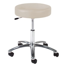 960 Series Exam Stool w/ Single-Lever Adjustment - Polished Chrome Base - Alabaster vinyl