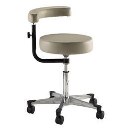 970 Series Exam Stool w/ Procedure Arm & D-Ring Hand Adjustment - Aluminum Base w/ Toecaps