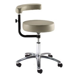 970 Series Exam Stool w/ Procedure Arm & D-Ring Hand Adjustment - Shown w/ polished chrome base
