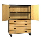 Combo Storage Cabinet - Shown w/ doors & four drawers