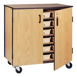 Six-Shelf Storage Cabinet w/ Doors - Reinforced Frame - Trays not included