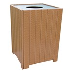 Standard Recycled Plastic Outdoor Trash Can - shown in cedar