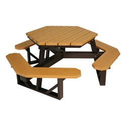 Hexagon Recycled Plastic Picnic Table At School Outfitters - Recycled plastic octagon picnic table